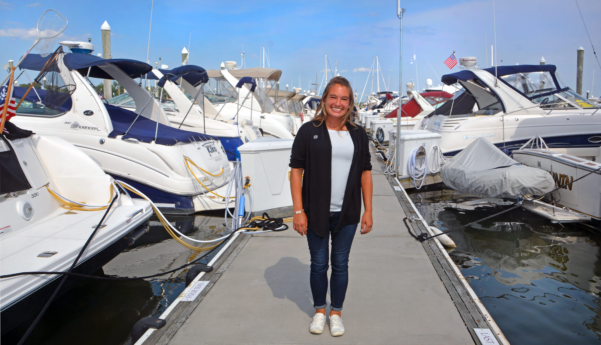 Alyssa Linkamper, 2015 MTTI Marine Service Technician Graduate, at Safe Harbor Marinas in Warwick, RI