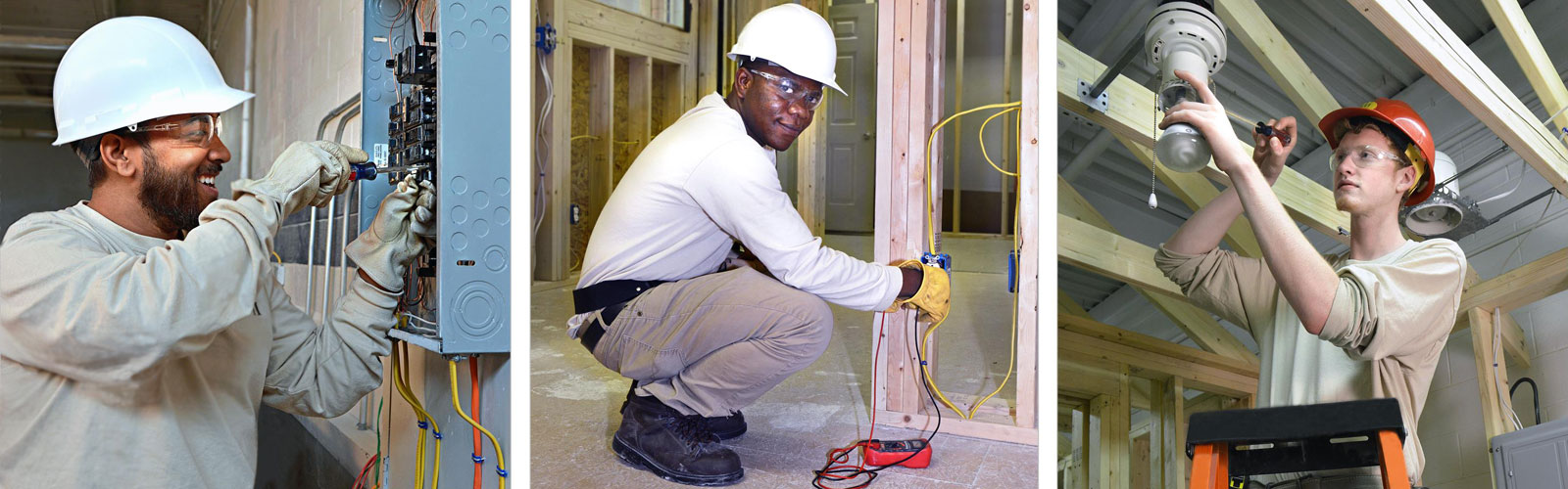 MTTI student installing an electrical outlet in training module.