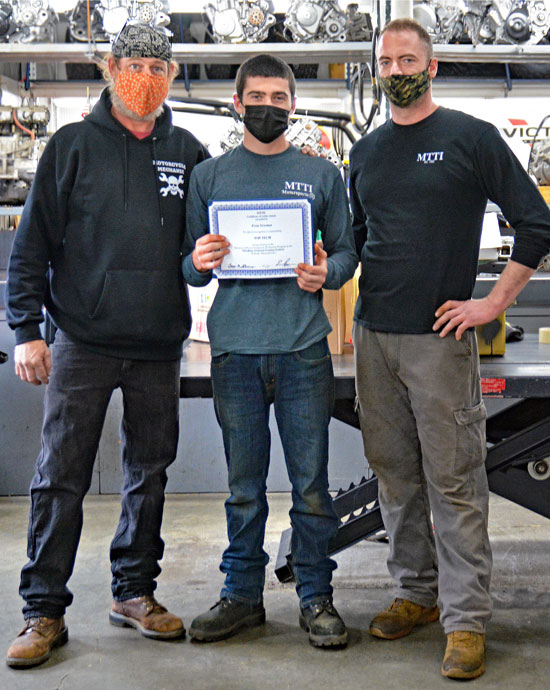 Evan Newman, Top Tech, With Motorcycle Instructors Gary & Cale