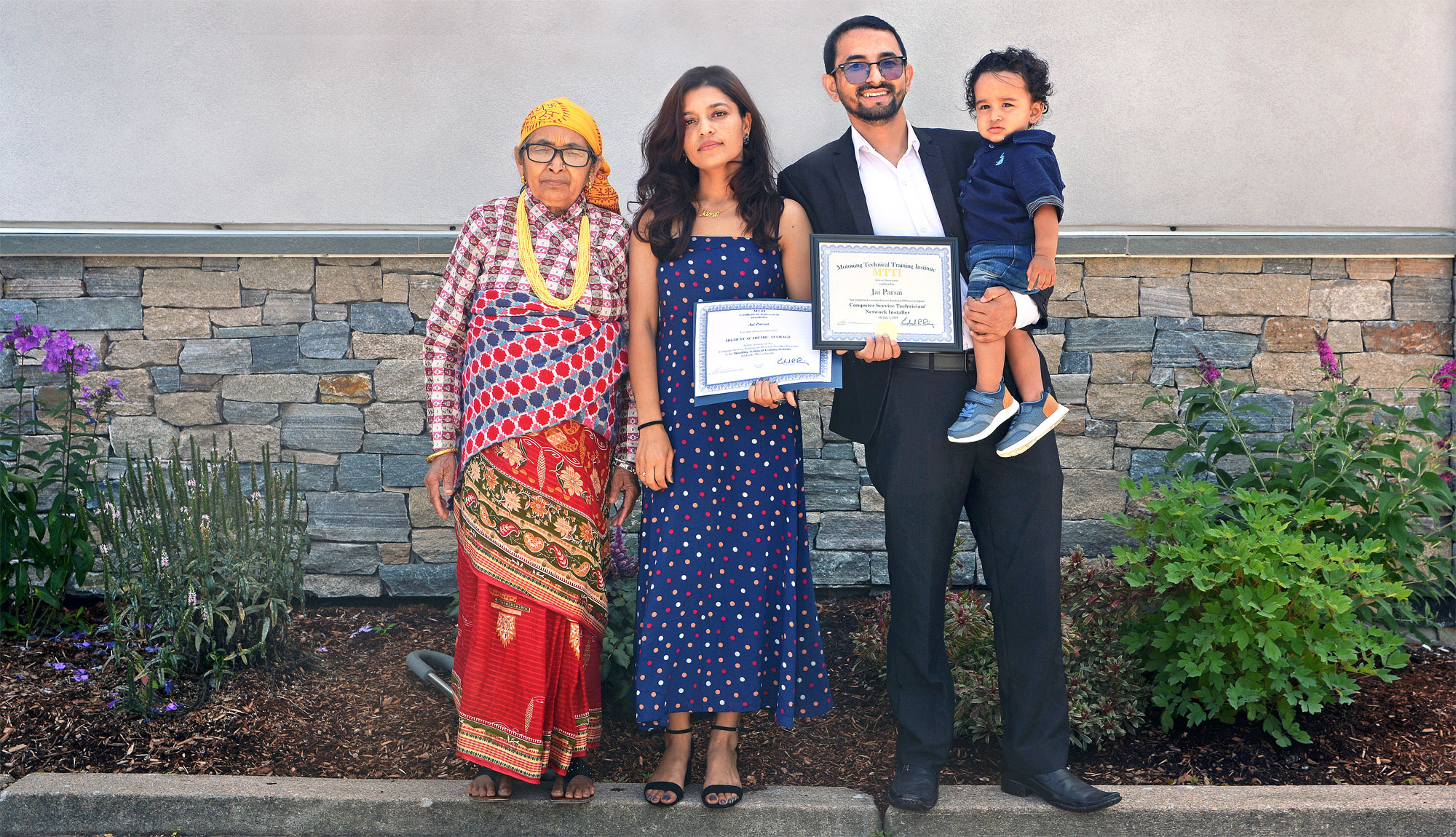 Jai Parsai, 2019 MTTI Computer Service Tech / Network Installer Graduate With His Wife, Mother & Son.