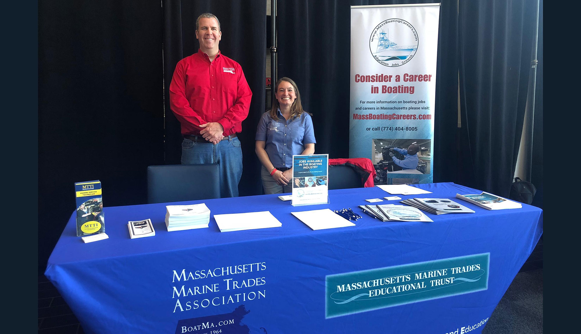 Randall Lyons, MA Marine Trades Assoc.& Alyssa Linkamper, MTTI Grad / Safe Harbor Marinas, Providing Info On Boating Careers.