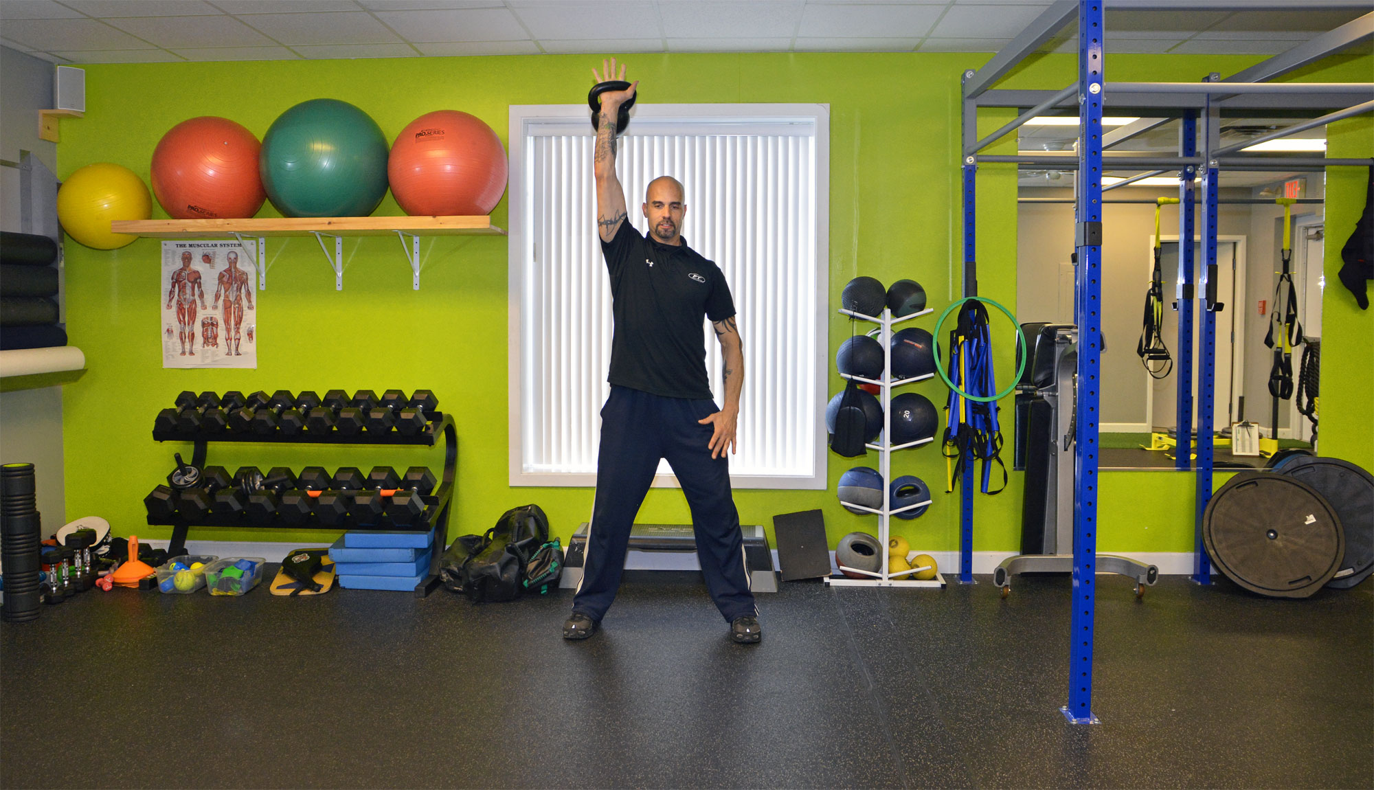 MTTI Personal Fitness Trainer Graduate, Stephen Lombari, demonstrating the use of kettlebells.