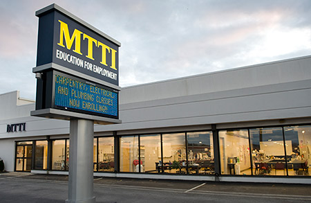 Front view of the main MTTI building at 1241 Fall River Avenue, Seekonk, MA.