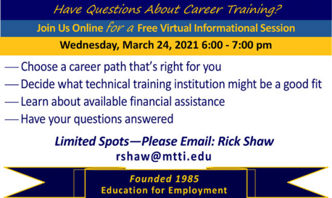 Career Training Informational Session on March 24, 2021