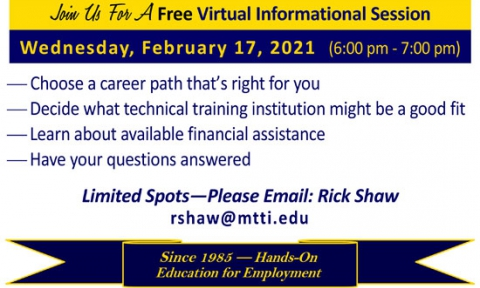 Career Training Informational Session on February 17, 2021