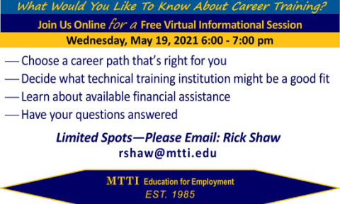 Career Training Informational Session on May 19, 2021