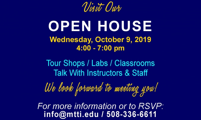 The Next Open House at MTTI is October 9, 2019 (4-7 pm)