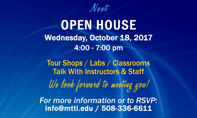 Open House at MTTI in Seekonk, MA on 10-18-17.