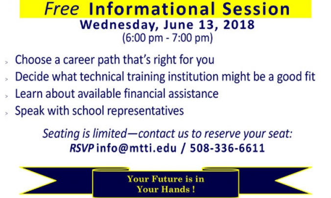 Career Training Informational Session on May 9, 2018 at MTTI