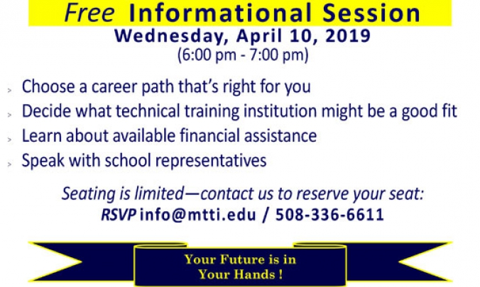 Career Training Informational Session on April 10, 2019 at MTTI
