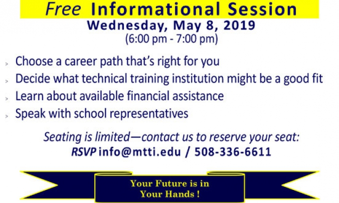 Career Training Informational Session on May 6, 2019 at MTTI