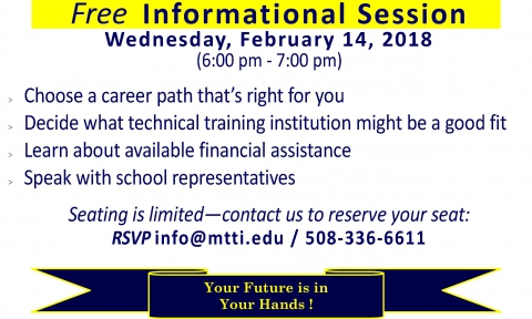 Career Training Informational Session on February 14, 2018 at MTTI